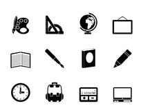Silhouette School and education icons. Vector icon set Royalty Free Stock Image