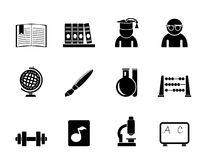Silhouette school and education icons Royalty Free Stock Photo