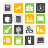 Silhouette school and education icons Royalty Free Stock Photos