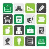 Silhouette school and education icons Stock Photography