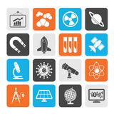 Silhouette science, research and education Icons Stock Photo