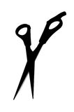 Silhouette of scissors. Silhouette of a cosmetologist shears with open blades stock images