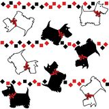 Silhouette scottie dogs with patterns repeat pattern. Silhouette scottie dogs with patterns repeat seamless pattern Stock Photo