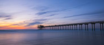 Silhouette of Scripps Pier in La Jolla California Royalty Free Stock Photos