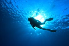 Silhouette of scuba diver Stock Photo