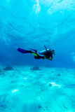 Silhouette of Scuba Diver near Sea Bottom Stock Image