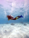 Silhouette of Scuba Diver near Sea Bottom Royalty Free Stock Photo