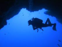 Silhouette scuba diving. Sunken ship. underwater Stock Photo