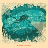 Silhouette of scuba driver swiiming deep underwater.Vintage sea Royalty Free Stock Photography