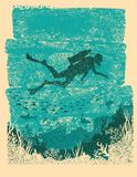 Silhouette of scuba driver underwater.Vintage sea poster Royalty Free Stock Image