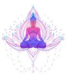 Silhouette se reposante de Bouddha au-dessus de fleur de Lotus ornementale ésotérique illustration libre de droits
