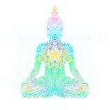 Silhouette se reposante de Bouddha Illustratio décoratif de vecteur de vintage illustration de vecteur