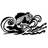 Silhouette of sea fish with crown on white background. Vector Royalty Free Stock Photos