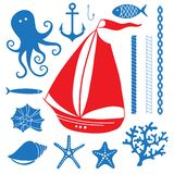 Silhouette Sea - Hand drawn set of sea symbols Royalty Free Stock Image