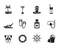 Silhouette Sea, marine and holiday icons Royalty Free Stock Photos