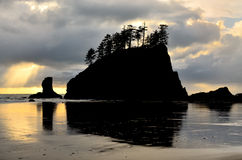 Silhouette of Sea Stack at Second Beach Stock Image