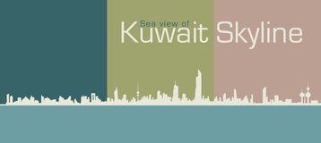 Silhouette Sea View Of Kuwait's Skyline Royalty Free Stock Images