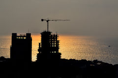 Silhouette of seaside construction. In twilight Royalty Free Stock Photo
