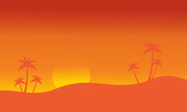 Silhouette of seaside with palm scenery Royalty Free Stock Photo