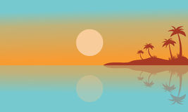Silhouette of seaside with reflection scenery Stock Images