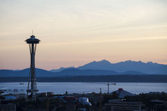 Silhouette of Seattle's Space Needle with the Olympic Mountains in the background. Royalty Free Stock Image