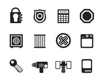 Silhouette Security and Business icons Stock Photo