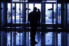 Silhouette of the security guard Stock Photography