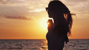 Silhouette of seductive girl with long hair wearing sunglasses enjoying the sunset on the beach in slow motion in windy. Weather by the sea. 1920x1080, hd stock video