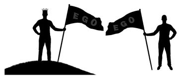 Silhouette  of a selfish man holds a flag with the word ego. Silhouette  of a selfish man with a crown on his head holds a flag with the word ego on top of a Stock Photo