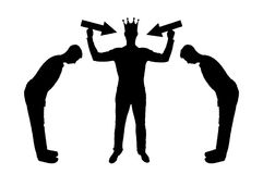 Silhouette  of a selfish man with a crown on his head is trying to attract attention. The servants worship him. The concept of a selfish and narcissistic Stock Image