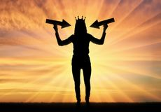 Silhouette of a selfish woman with a crown on her head. Trying to draw attention by holding pointer in her hands. The concept of a selfish and narcissistic Royalty Free Stock Photos