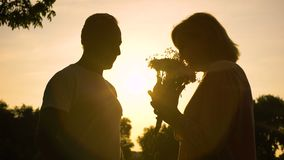 Silhouette of senior man giving flowers to woman, celebrating anniversary. Stock footage stock footage