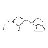 Silhouette set collection clouds tridimensional in cumulus shape. Illustration  illustration Royalty Free Stock Photo