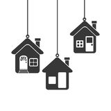 Silhouette set collection Hanging houses Royalty Free Stock Image