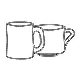 silhouette set collection porcelain cups utensil kitchen Royalty Free Stock Photos