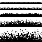Silhouette set of grass borders vector Stock Images