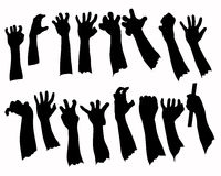 Silhouette set of hands in many gesture Royalty Free Stock Photo
