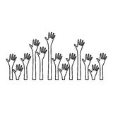 silhouette set hands up and opened icon Royalty Free Stock Photo