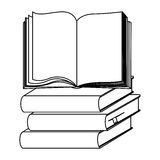 Silhouette set stack school books with open book Royalty Free Stock Images