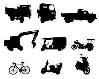 Silhouette set of vehicle Stock Image