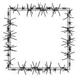 Silhouette of severe obstacle. Barbed wire fencing in the form of frame. Vector Illustration. EPS10 Royalty Free Stock Image