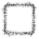 Silhouette of severe obstacle. Barbed wire fencing in the form of frame. Vector Illustration. EPS10 Royalty Free Stock Photography