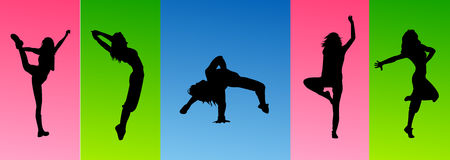 Silhouette sexy dance jumping Stock Photos