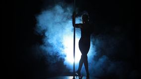 8of23 Silhouette of a sexy female pole dancing stock video