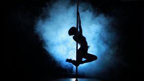 13of23 Silhouette of a sexy female pole dancing Stock Photo