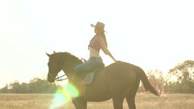 Silhouette girl riding on a brown horse. stock video footage