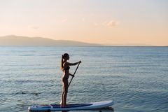 Silhouette of sexy girl with sup surf and paddle in hands at the ocean. Concept lifestyle, sport Stock Image