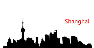 Silhouette Shanghai skyline. With word Shanghai line isolated on white Royalty Free Stock Photo
