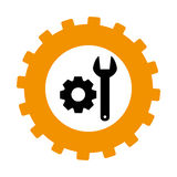 Silhouette in shape of gear with wrench and pinion Stock Photo