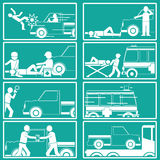 Silhouette Shape about pedestrian hit by pick up truck Stock Photos